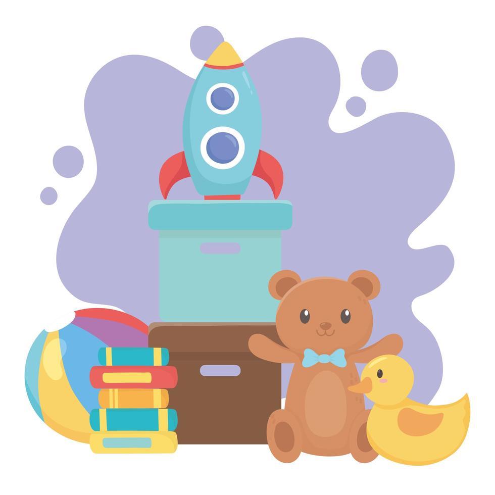 kinderen speelgoed object grappige cartoon teddybeer eend raket boeken en bal vector