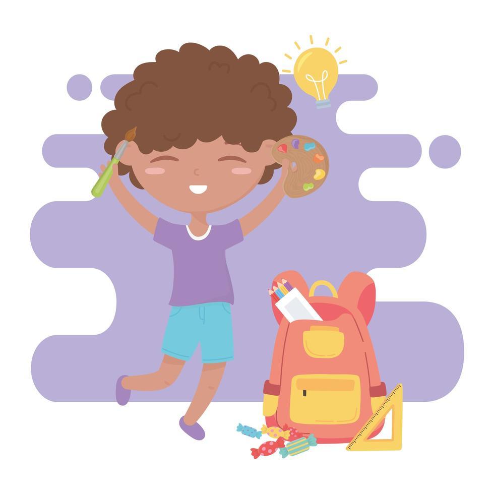 terug naar school, student jongen rugzak liniaal potloden en kleurenpalet onderwijs cartoon vector