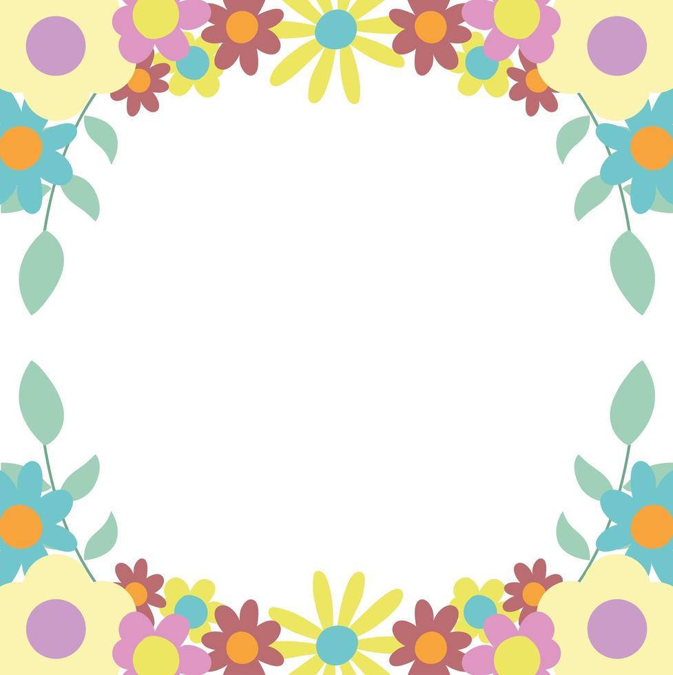 bloemen bladeren natuur decoratie grens witte achtergrond vector