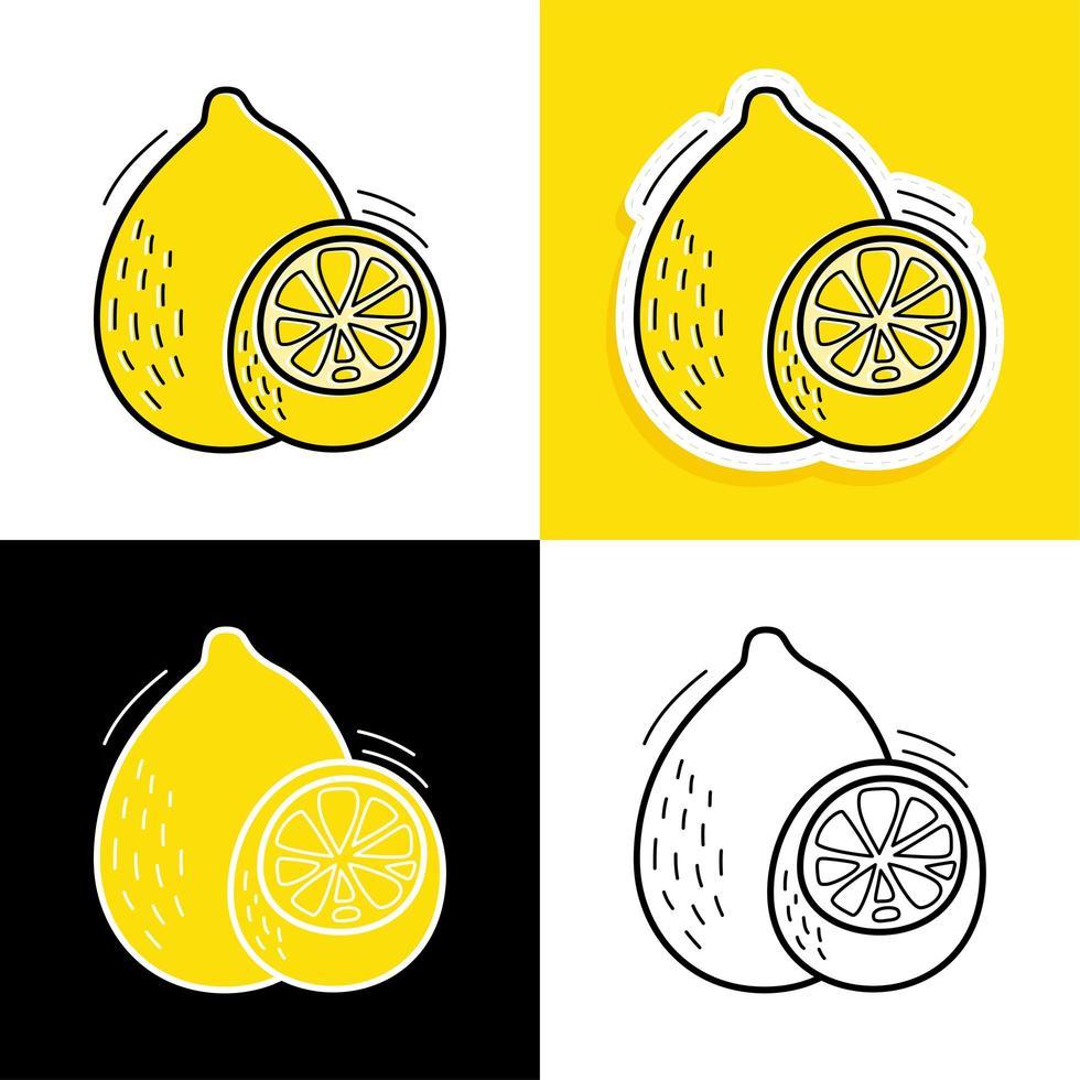 citroen hand getrokken set vector