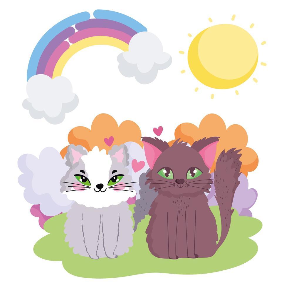 schattige katten die in de huisdieren van het graszonthema zitten vector
