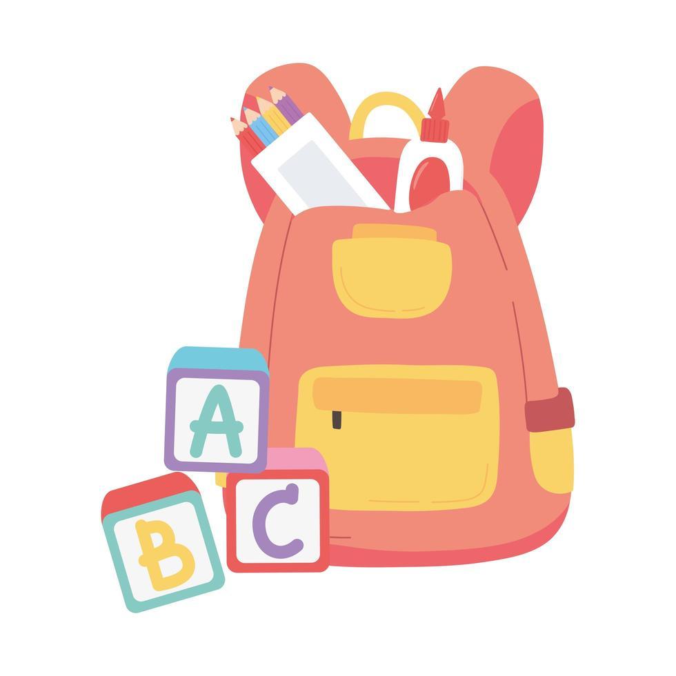 terug naar school, rugzak lijm potloden blokken alfabet onderwijs cartoon vector