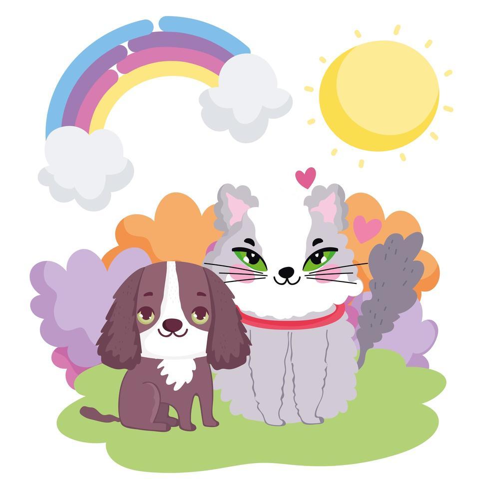 kleine hond en kat zitten in het gras zon landschap huisdieren vector