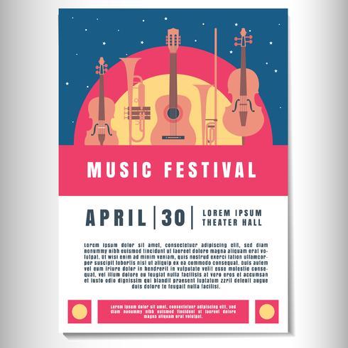 Muziek Poster achtergrond sjabloon vector