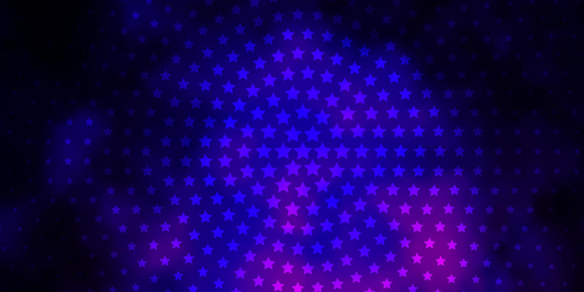 donkerpaars, roze vectorachtergrond met kleurrijke sterren. vector