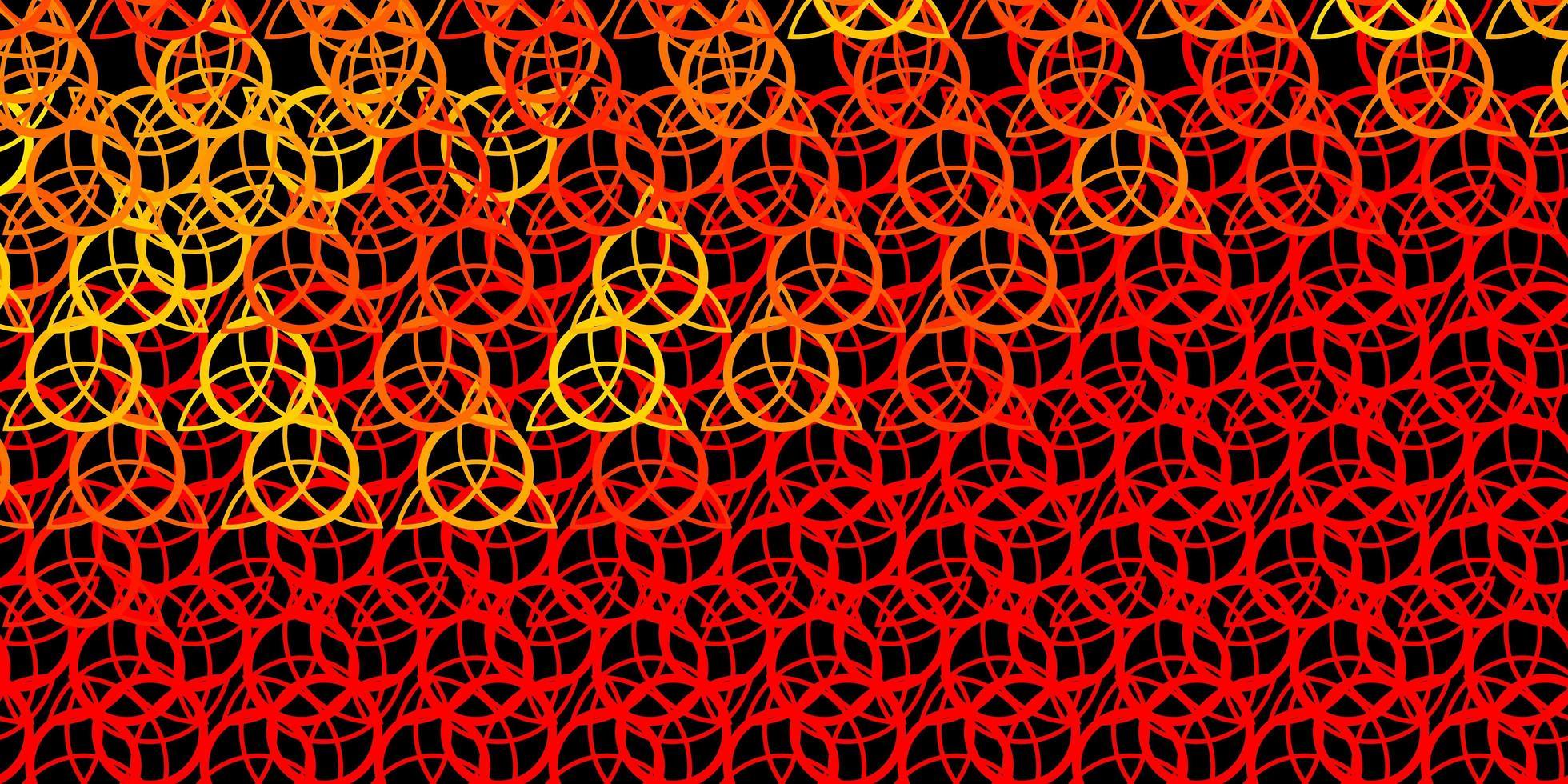 donkerrode, gele vectortextuur met godsdienstsymbolen. vector
