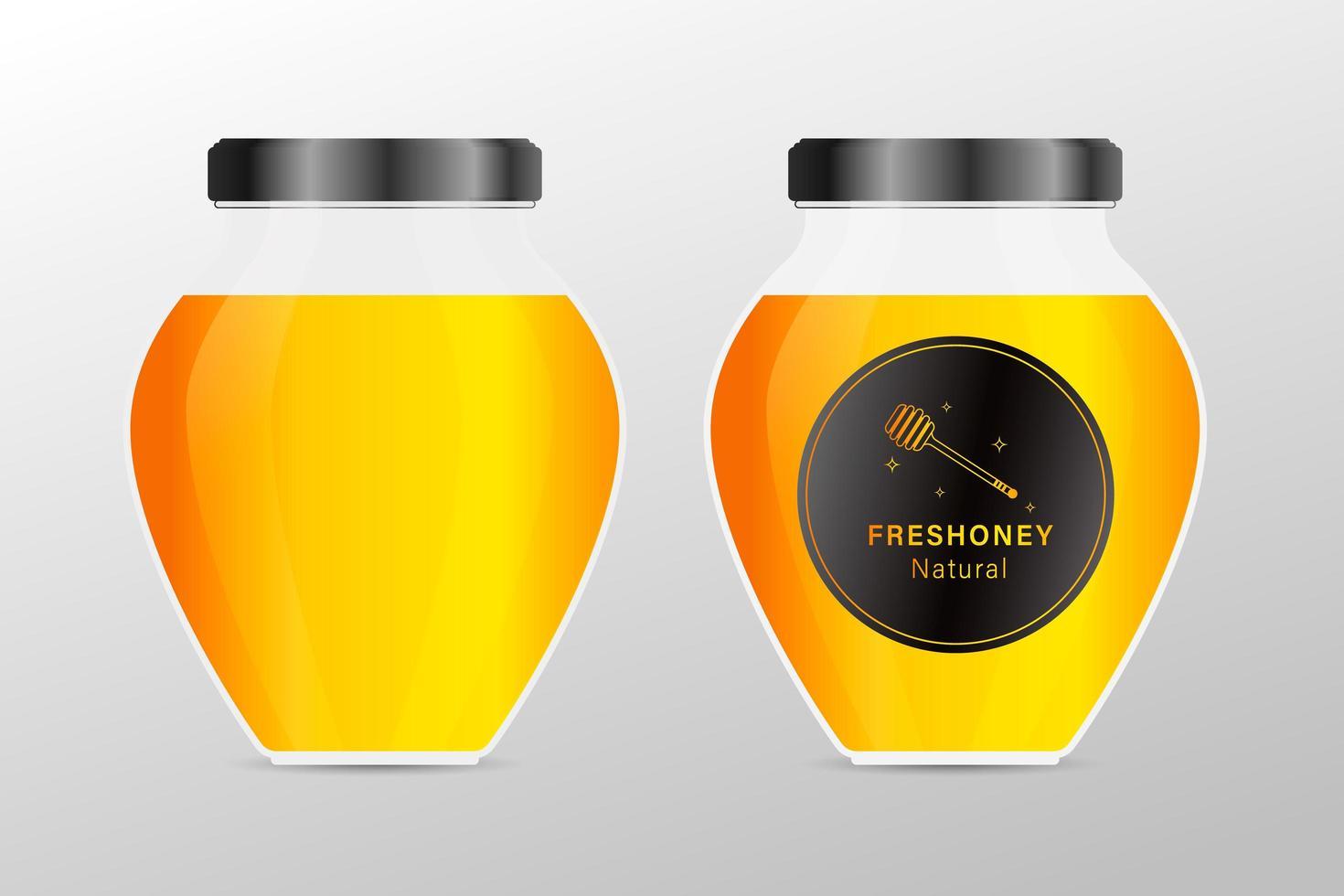 bespotten glazen honingpot met designlabel of badges vector