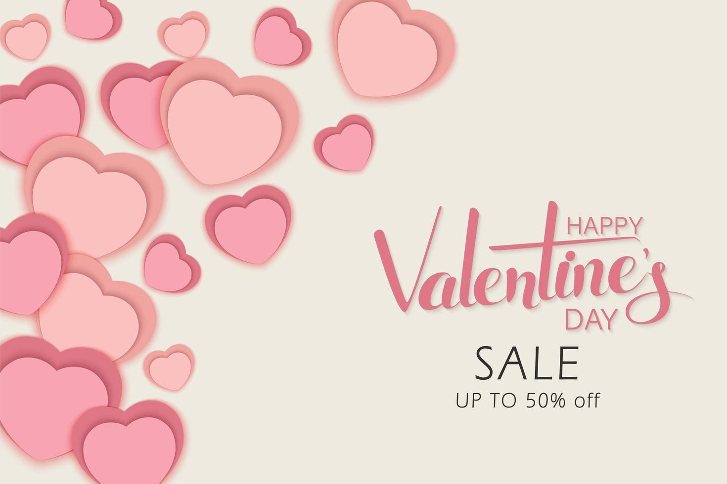 happy Valentijnsdag verkoop ontwerp met gelaagde papier gesneden harten vector