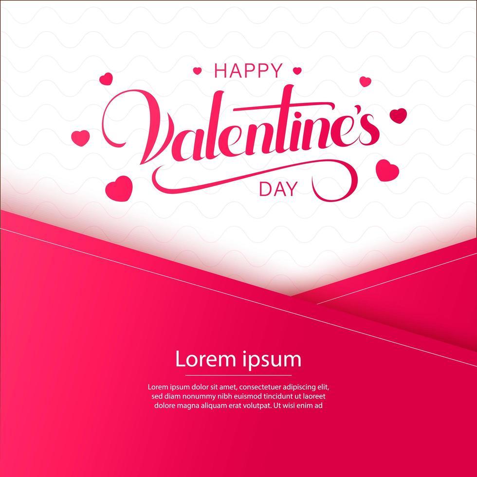 gelukkige Valentijnsdag overlappende papieren ontwerp met hartjes en belettering vector
