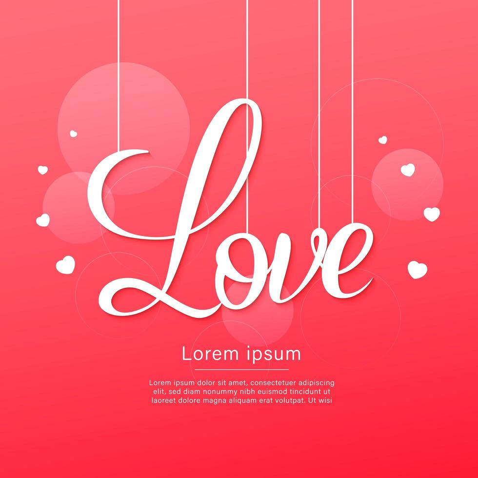 gelukkige Valentijnsdag hangende liefdetekst met harten vector