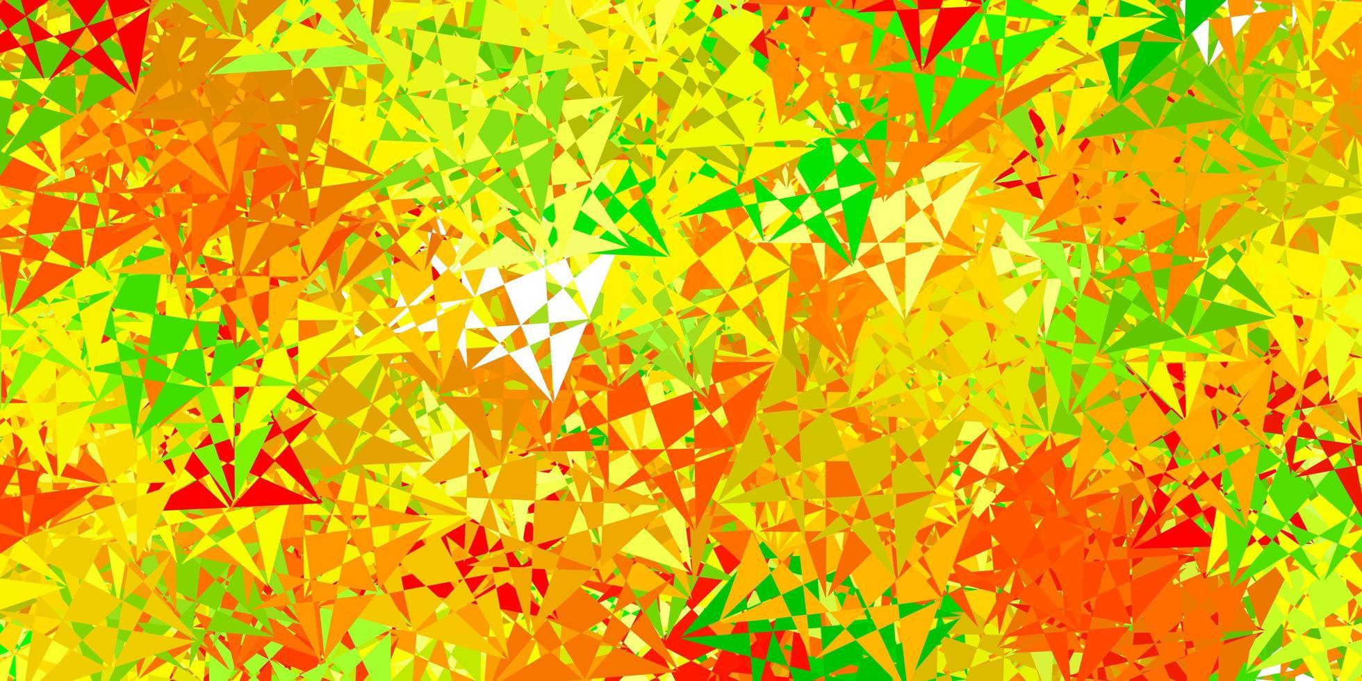 lichtgroene, gele vectorachtergrond met driehoeken, lijnen. vector