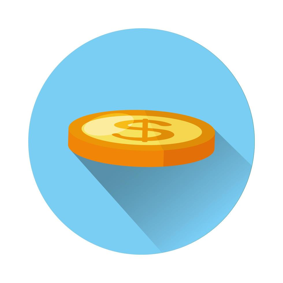 munt geld dollar geïsoleerde pictogram vector