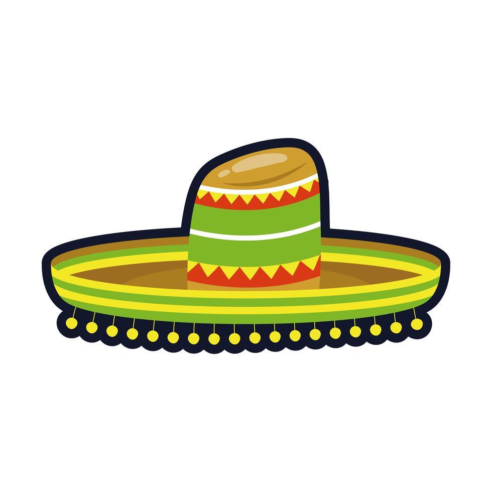 traditionele Mexicaanse hoed platte stijl pictogram vector illustratie ontwerp