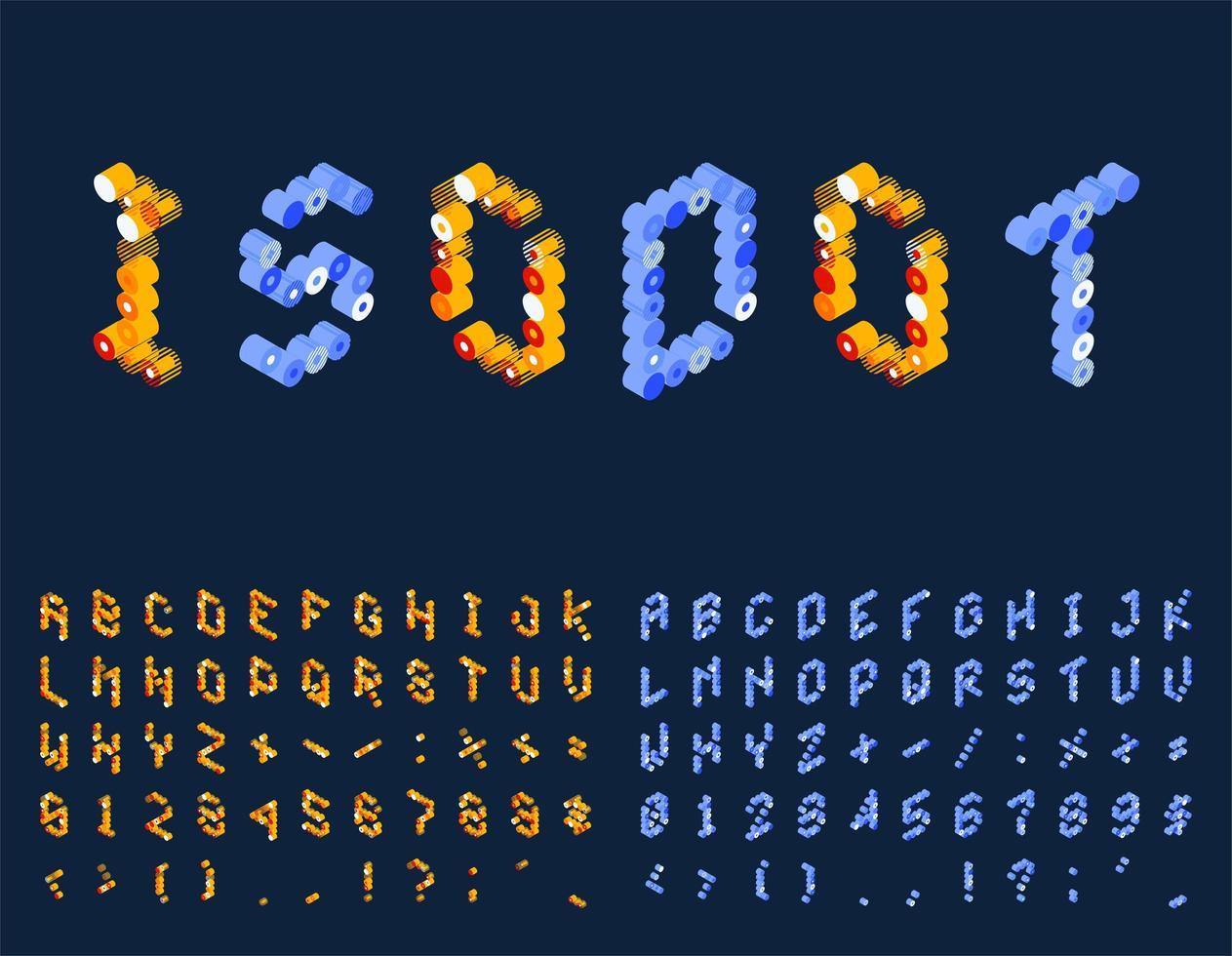 gestippelde isometrische techno lettertypeset vector