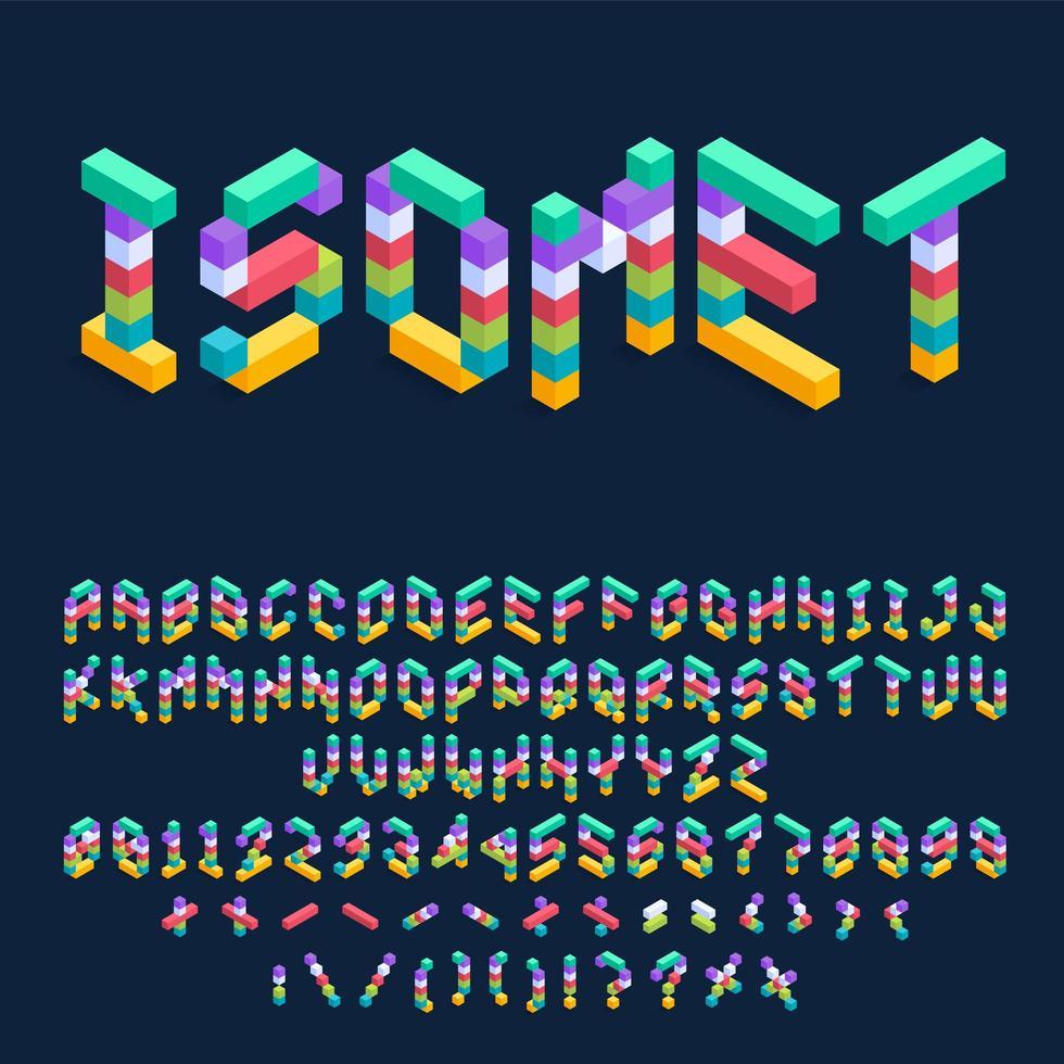 isometrische kleurrijke kubussen 3d lettertype ontwerp vector
