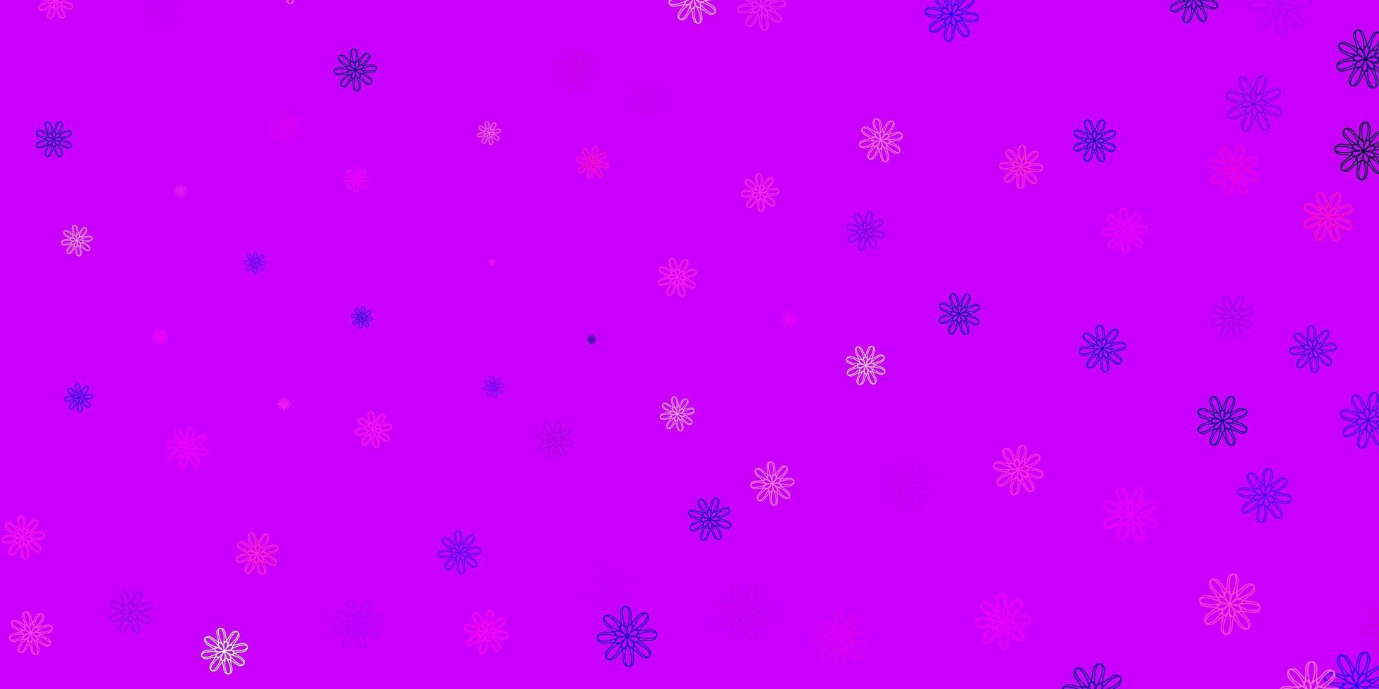 lichtpaars, roze vectorkrabbelpatroon met bloemen. vector