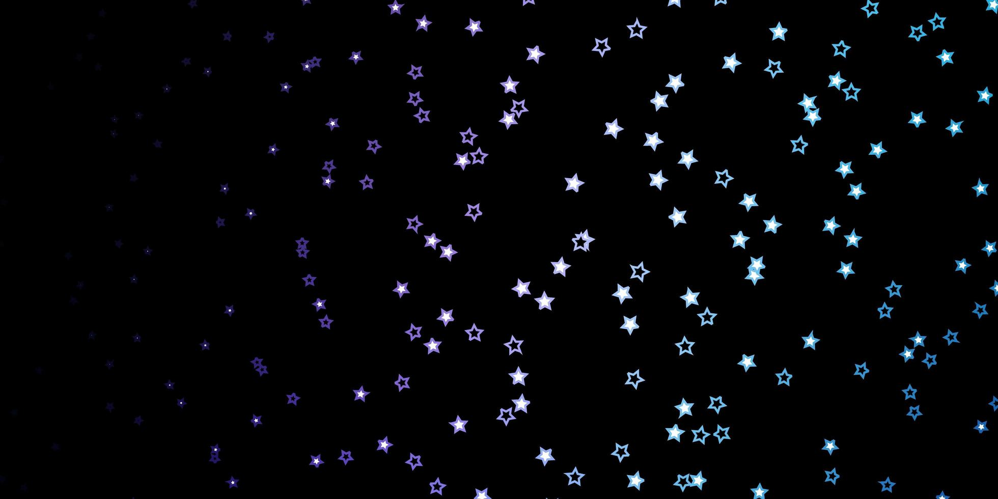 donkerroze, blauw vectorpatroon met abstracte sterren. vector