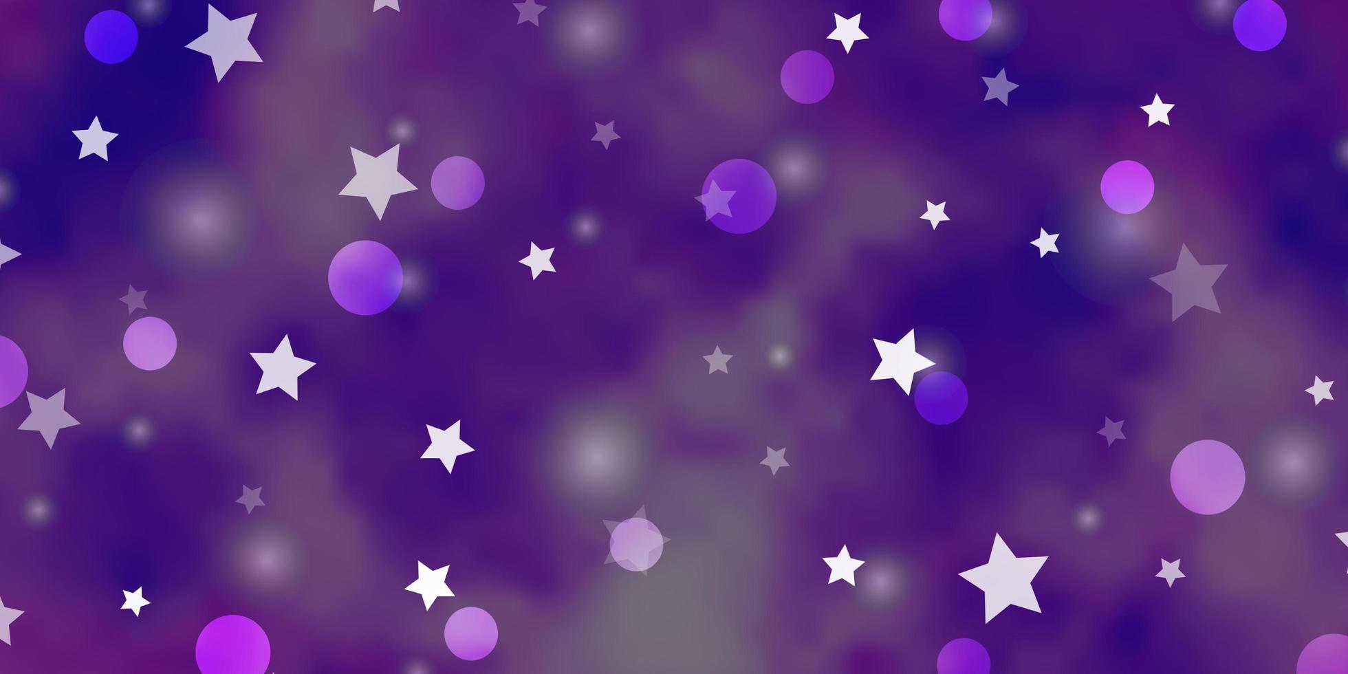lichtpaarse vectortextuur met cirkels, sterren. vector