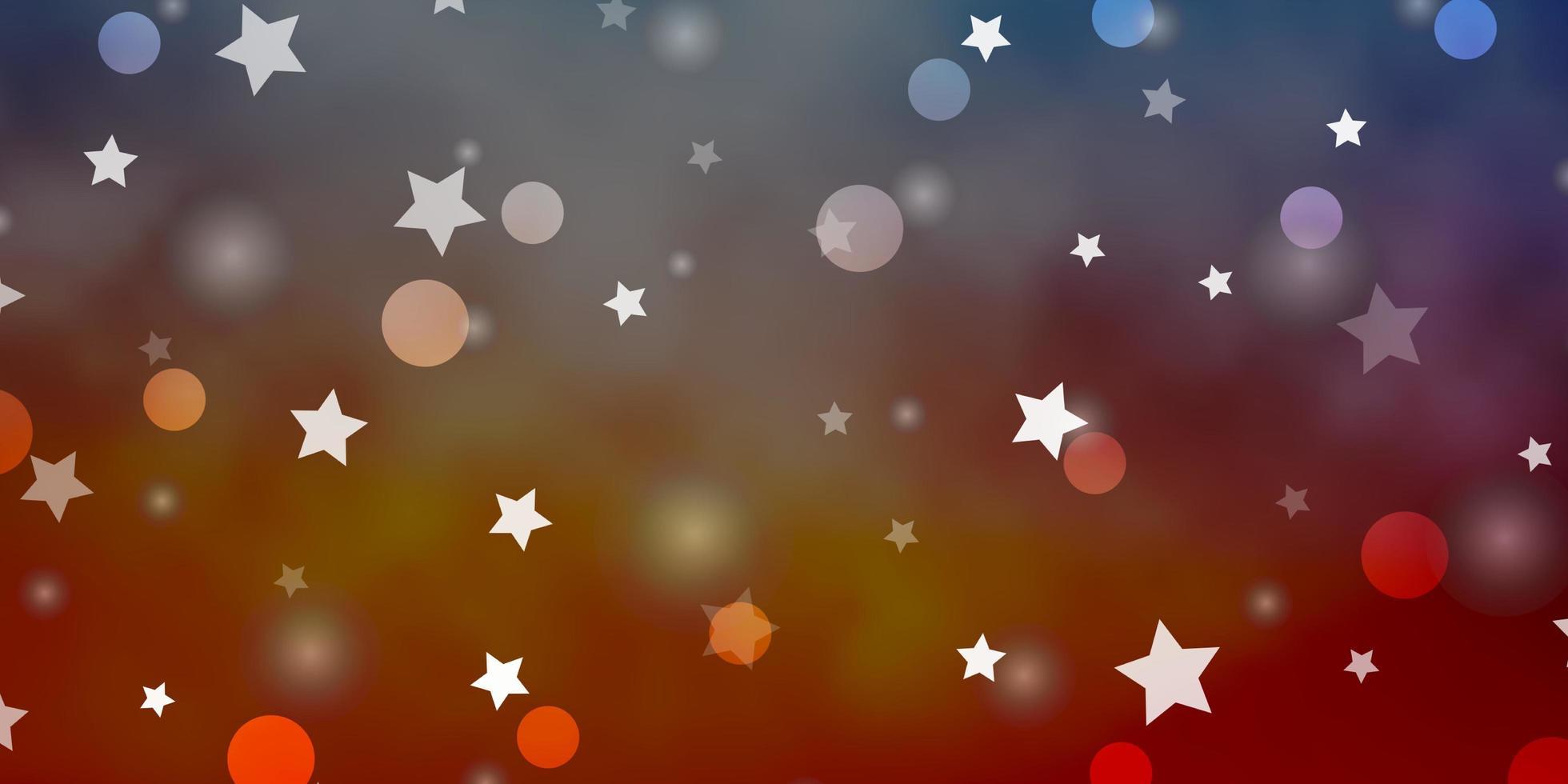 lichtblauw, rood vectorpatroon met cirkels, sterren. vector