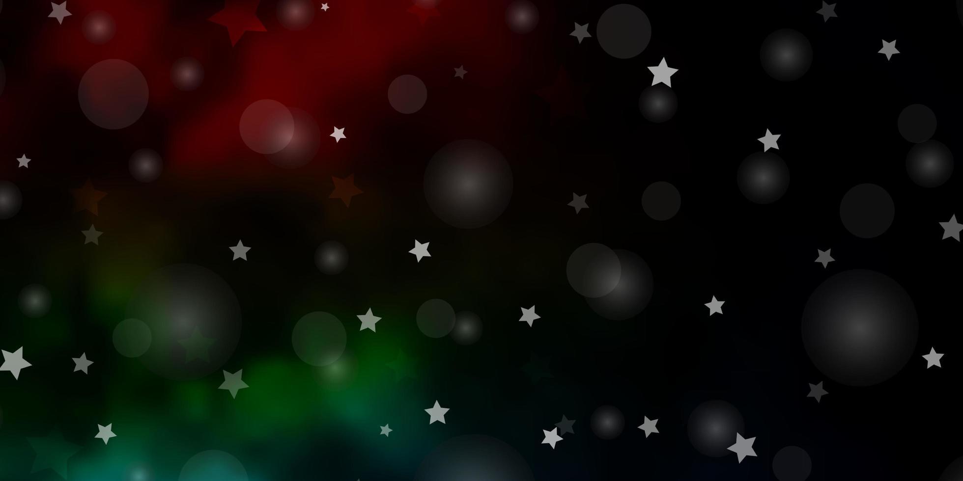 donkere veelkleurige vectortextuur met cirkels, sterren. vector