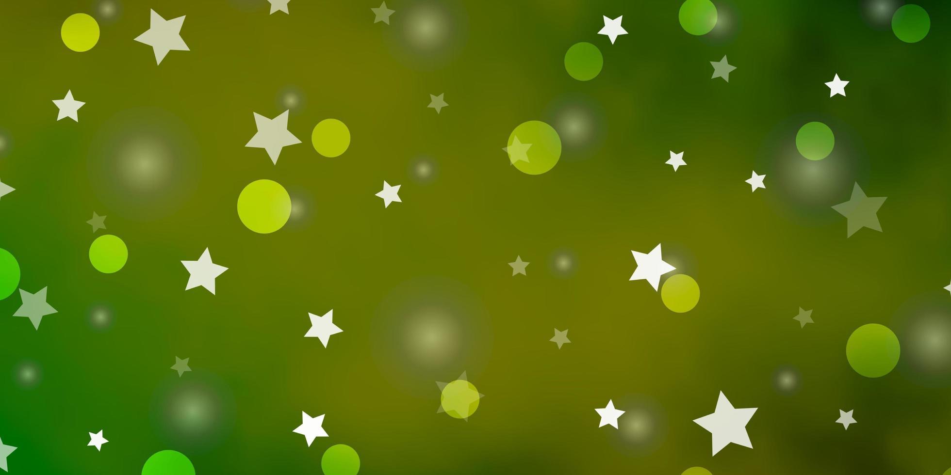 lichtgroene, gele vector achtergrond met cirkels, sterren.