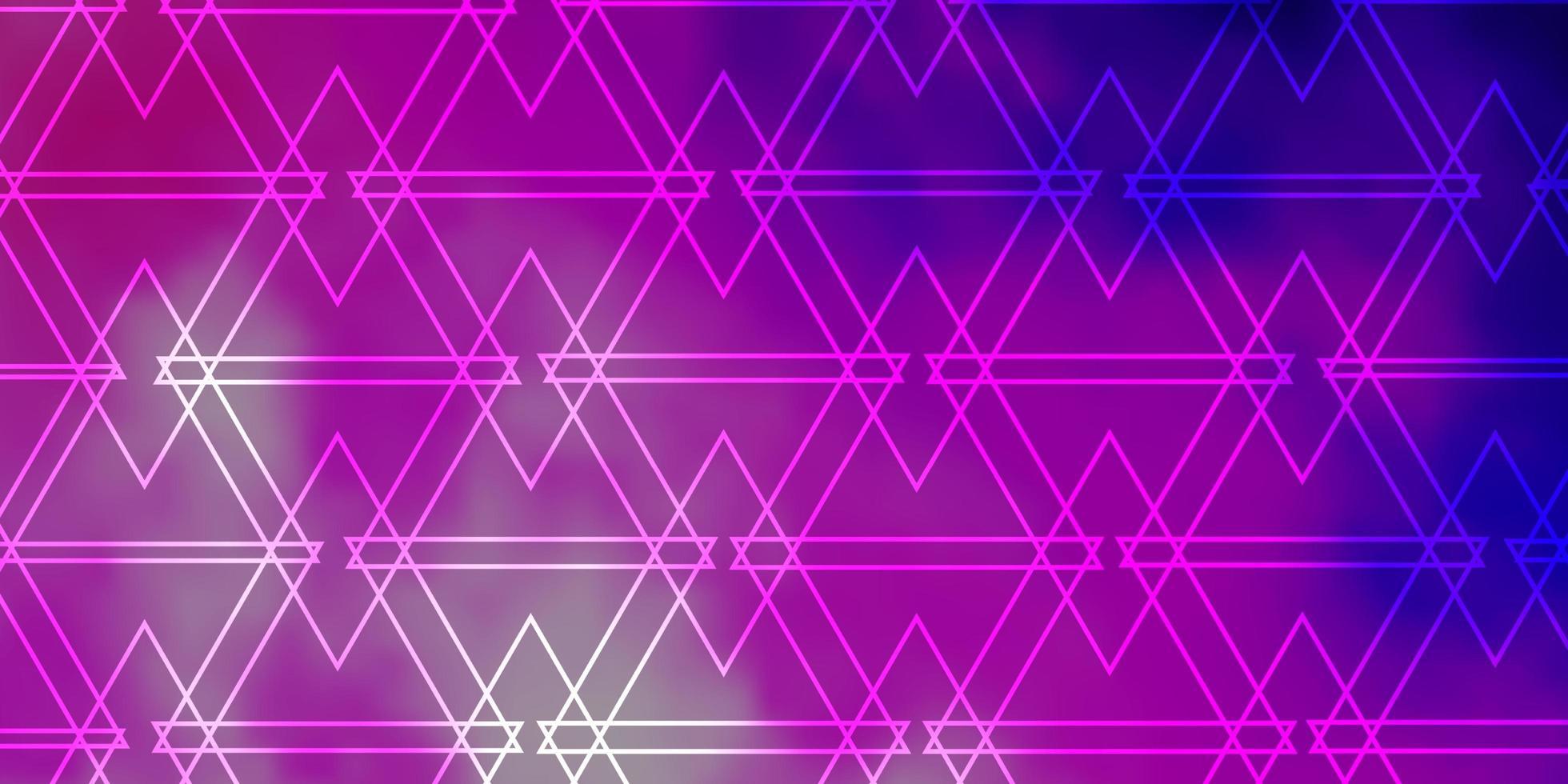 lichtpaarse, roze vectorlay-out met lijnen, driehoeken. vector