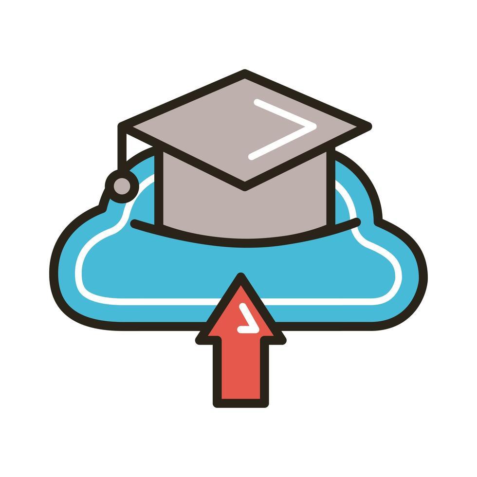 afstudeerhoed met online lijn- en vulstijl voor cloud computing-onderwijs vector