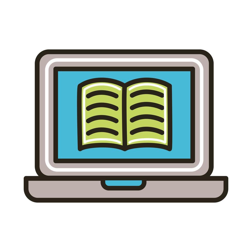 elektronisch boek in laptop vector