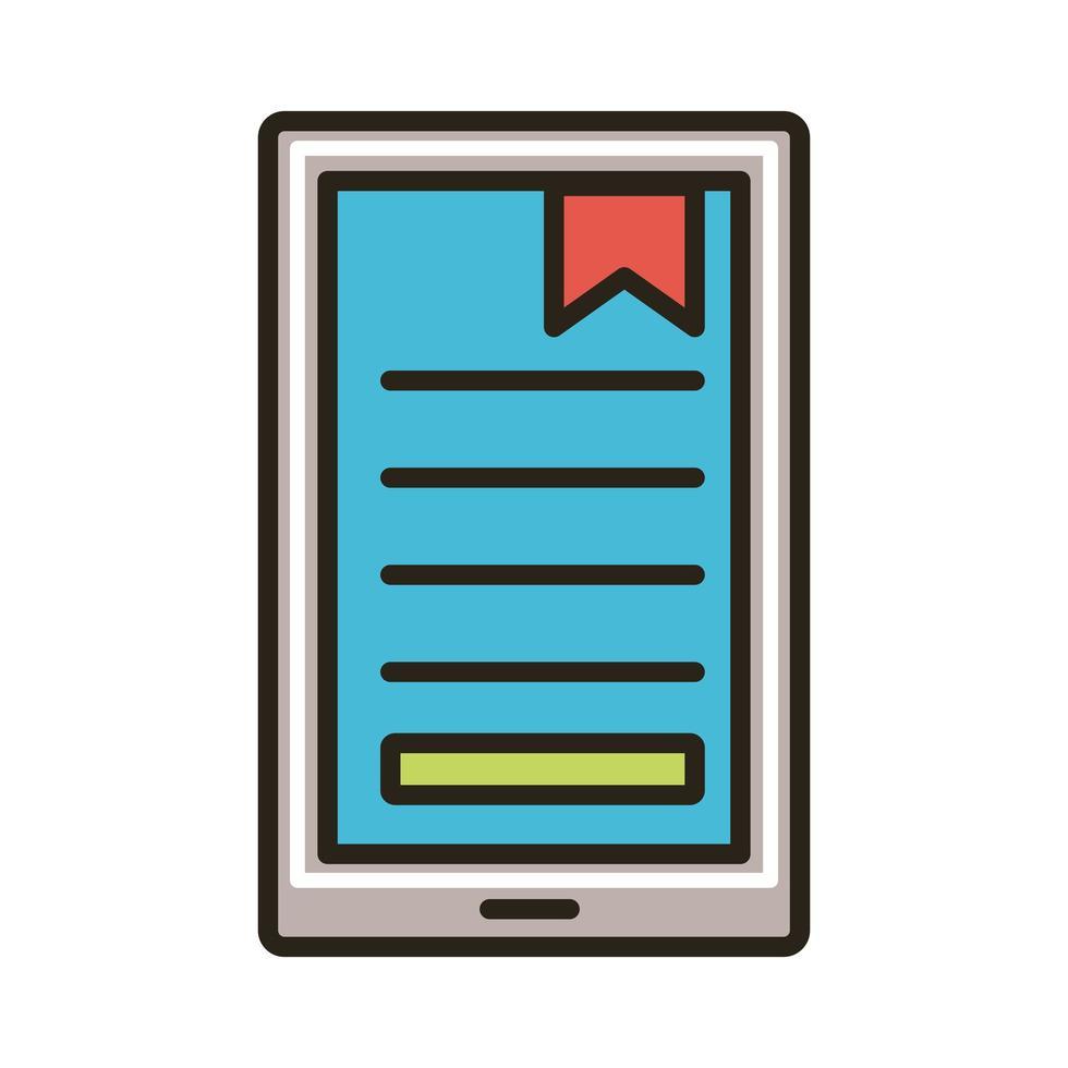 elektronisch boek in smartphone-onderwijs vector