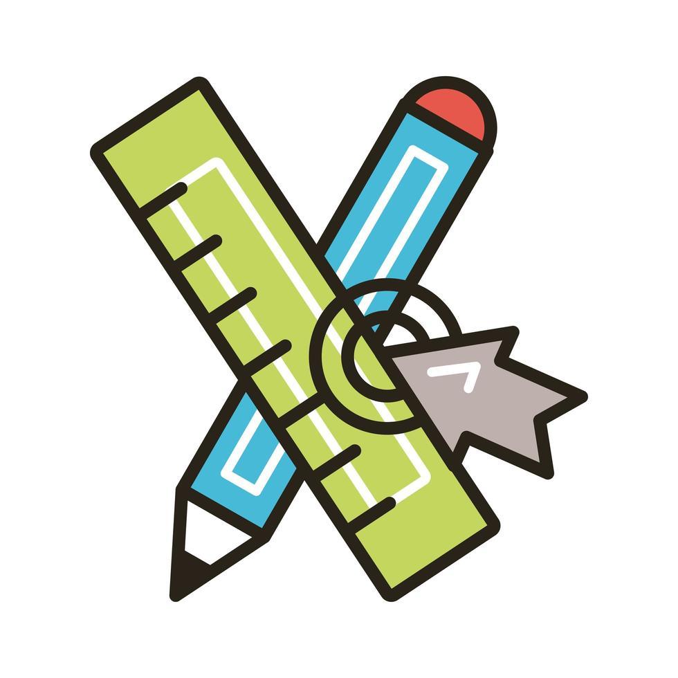 potlood en liniaal met muispijl vector
