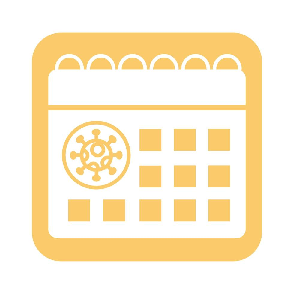 kalender met covid19 virusdeeltje lijnstijl vector