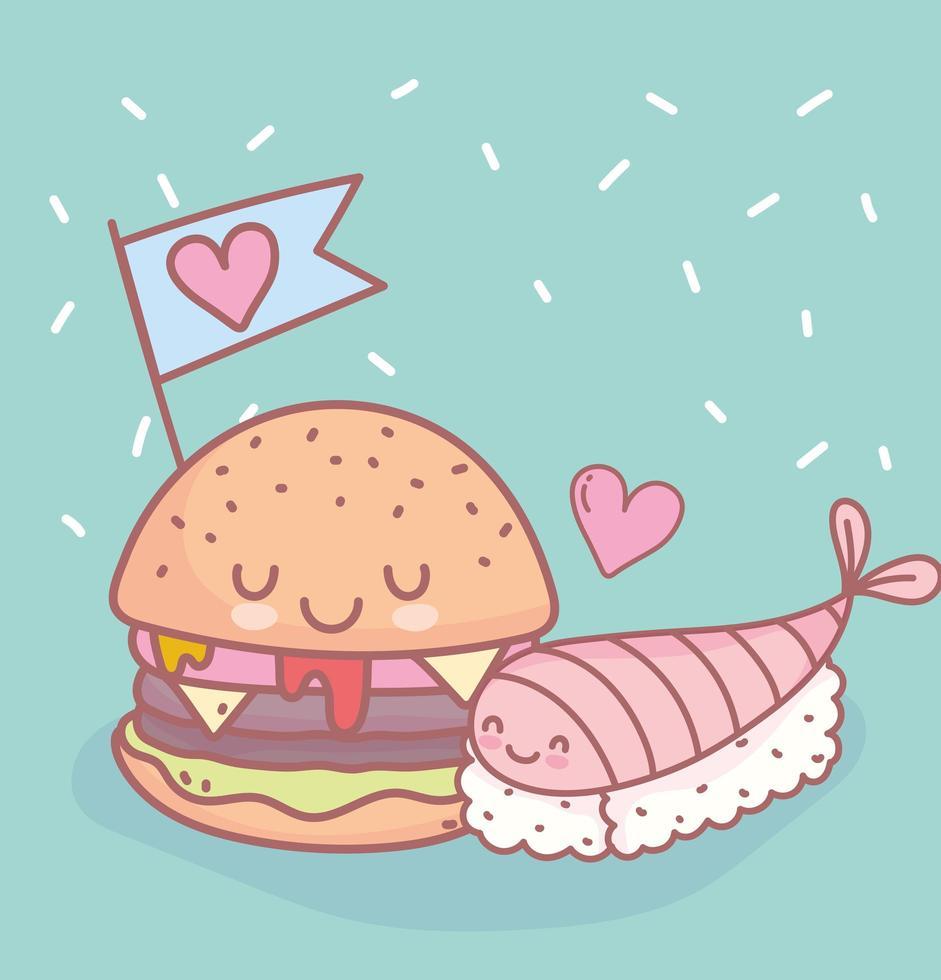 sushi en hamburger met liefdesmenu restaurant eten schattig vector