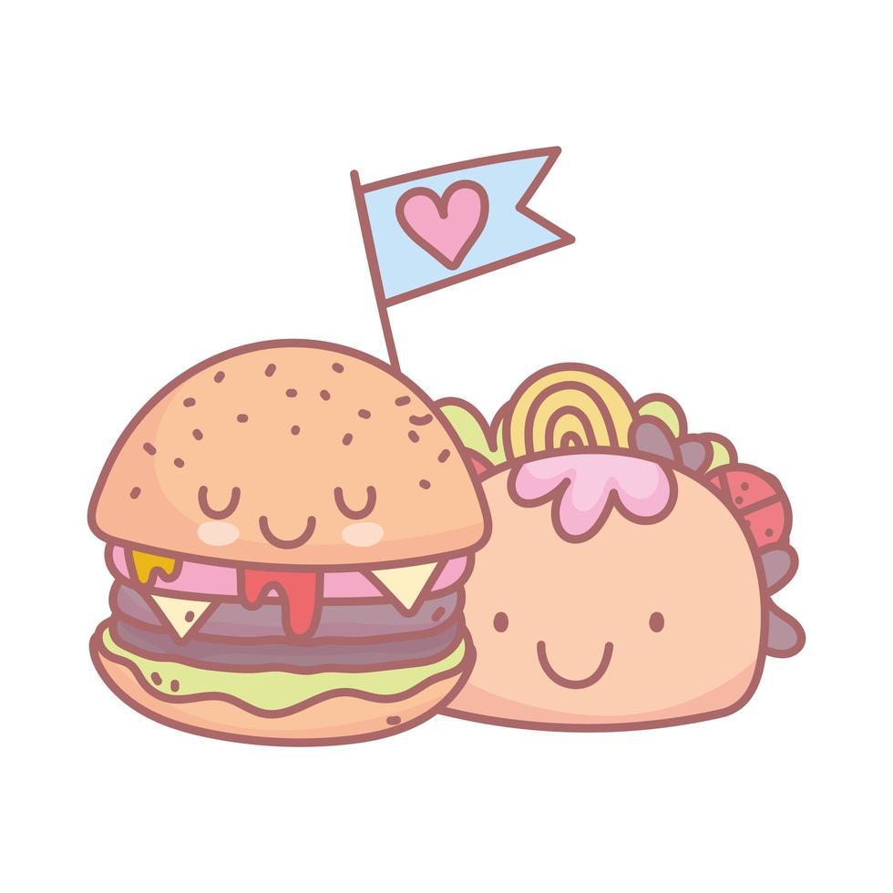 hamburger en taco karakter menu restaurant cartoon eten schattig vector