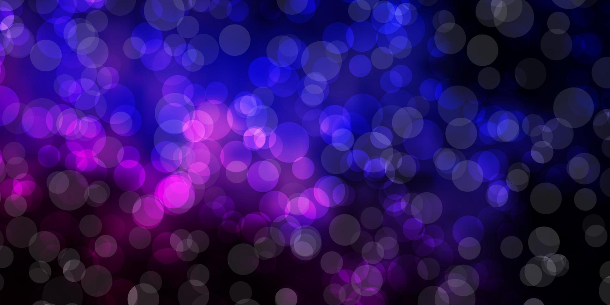 donkerroze, blauwe vectorlay-out met cirkelvormen. vector