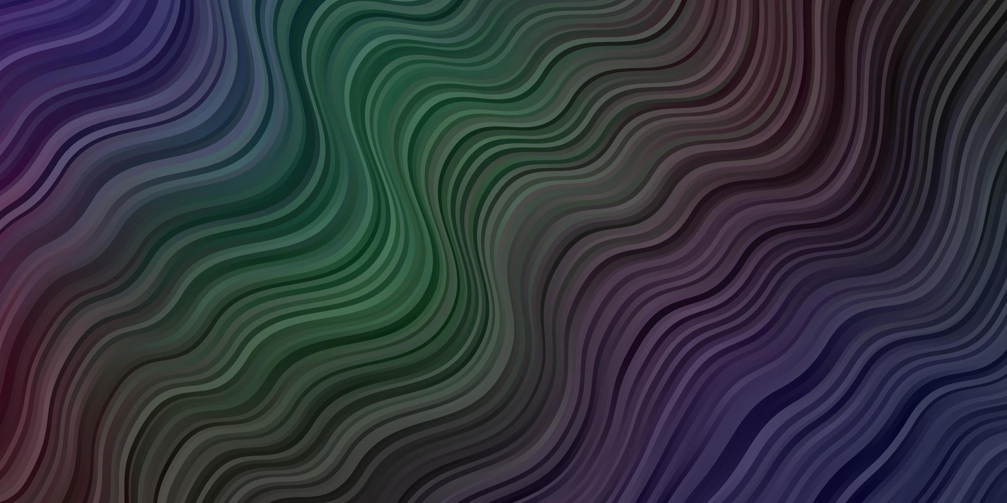 donkere veelkleurige vectorachtergrond met gebogen lijnen. vector
