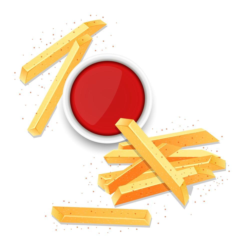 Franse frietjes vector ontwerp illustratie geïsoleerd op een witte achtergrond