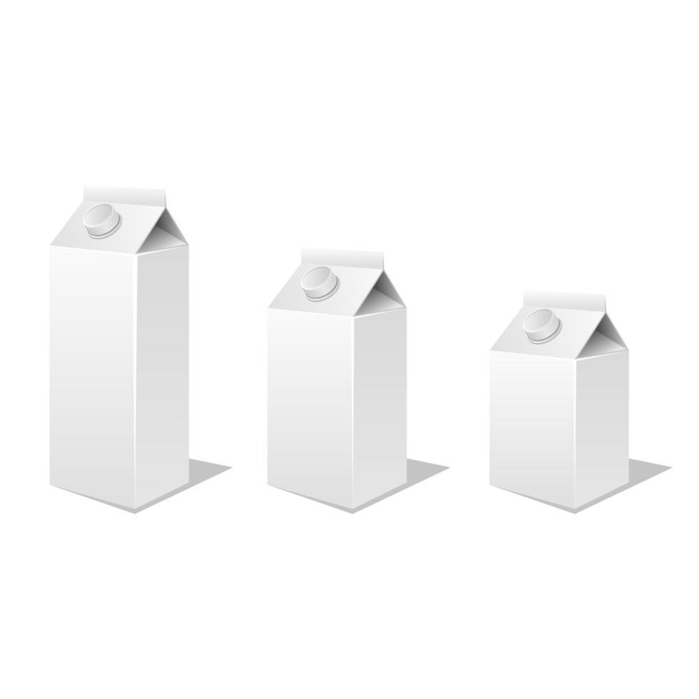 melk en sap kartonnen doos mockup vector ontwerp illustratie geïsoleerd op een witte achtergrond