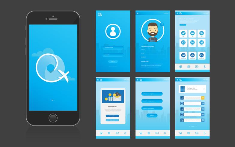 Gebruikersinterface voor mobiele apps en GUI vector