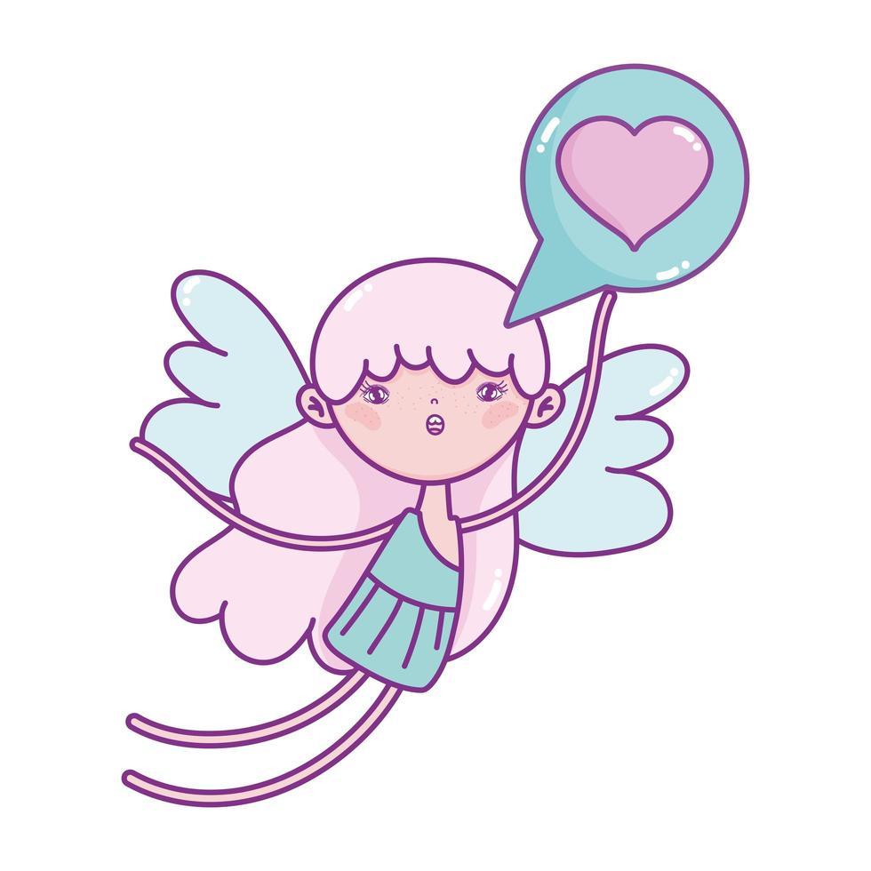 gelukkige Valentijnsdag, cupido met liefde hart tekstballon vector