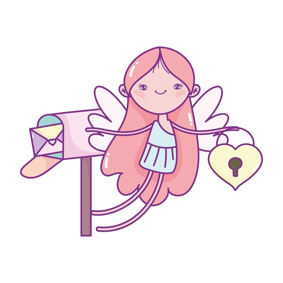 gelukkige Valentijnsdag, cupido met hart hangslot brievenbus envelop cartoon vector