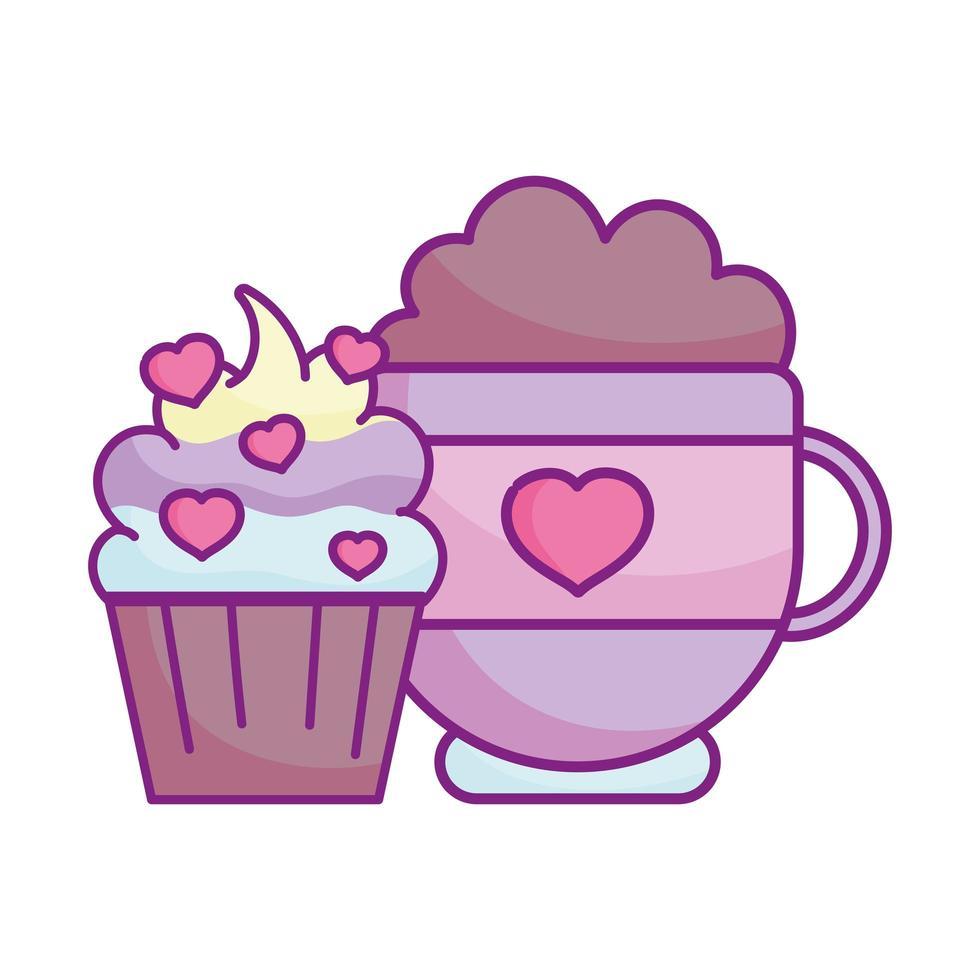 gelukkige Valentijnsdag, zoete cupcake chocoalte cup harten liefde vector