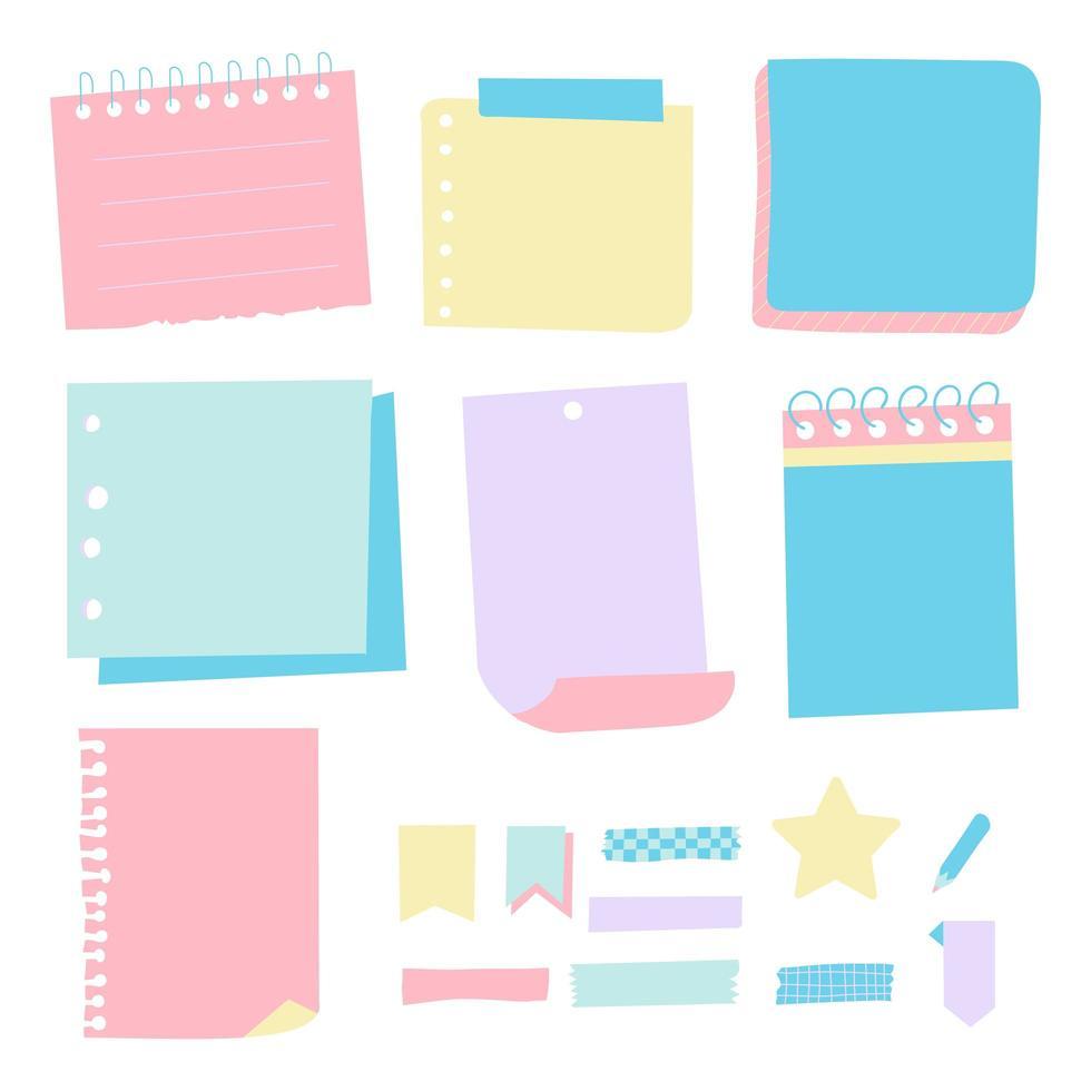 set stickers, zelfklevend gekleurd papier voor notities en herinneringen. vector illustratie