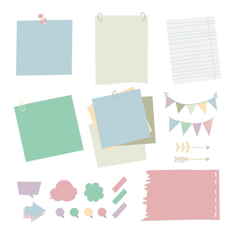 papierstift blocnote in verschillende kleuren. vector illustratie concept