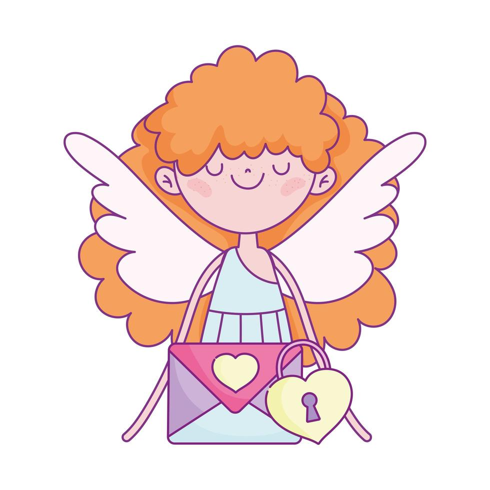 gelukkige Valentijnsdag, schattige cupido met hangslot met envelopbericht vector