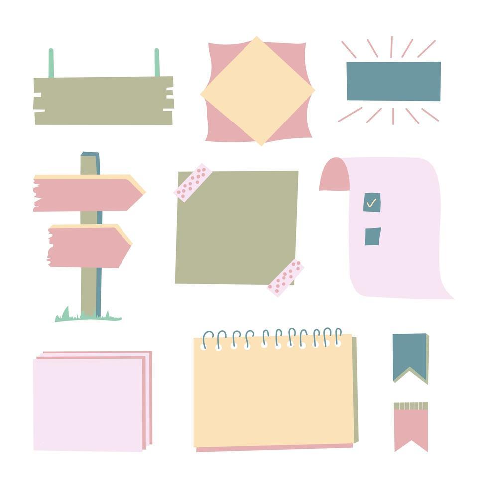 vector set papieren frames, blanco sjabloon, verschillende memostickers en tapes, fotokaarten, geïsoleerde illustraties, achtergronden, herinnering, notitieboekpagina's.