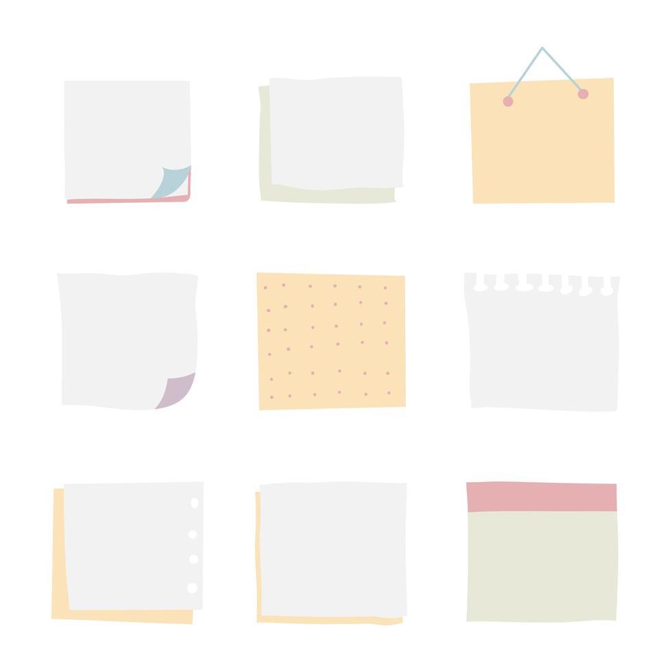 set van drie papieren stickervellen met omgezette rand. geïsoleerd op een witte achtergrond. vectorillustratie, eps 10. vector