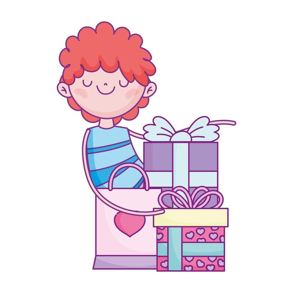 gelukkige Valentijnsdag, jongen met geschenken en boodschappentas cartoon vector