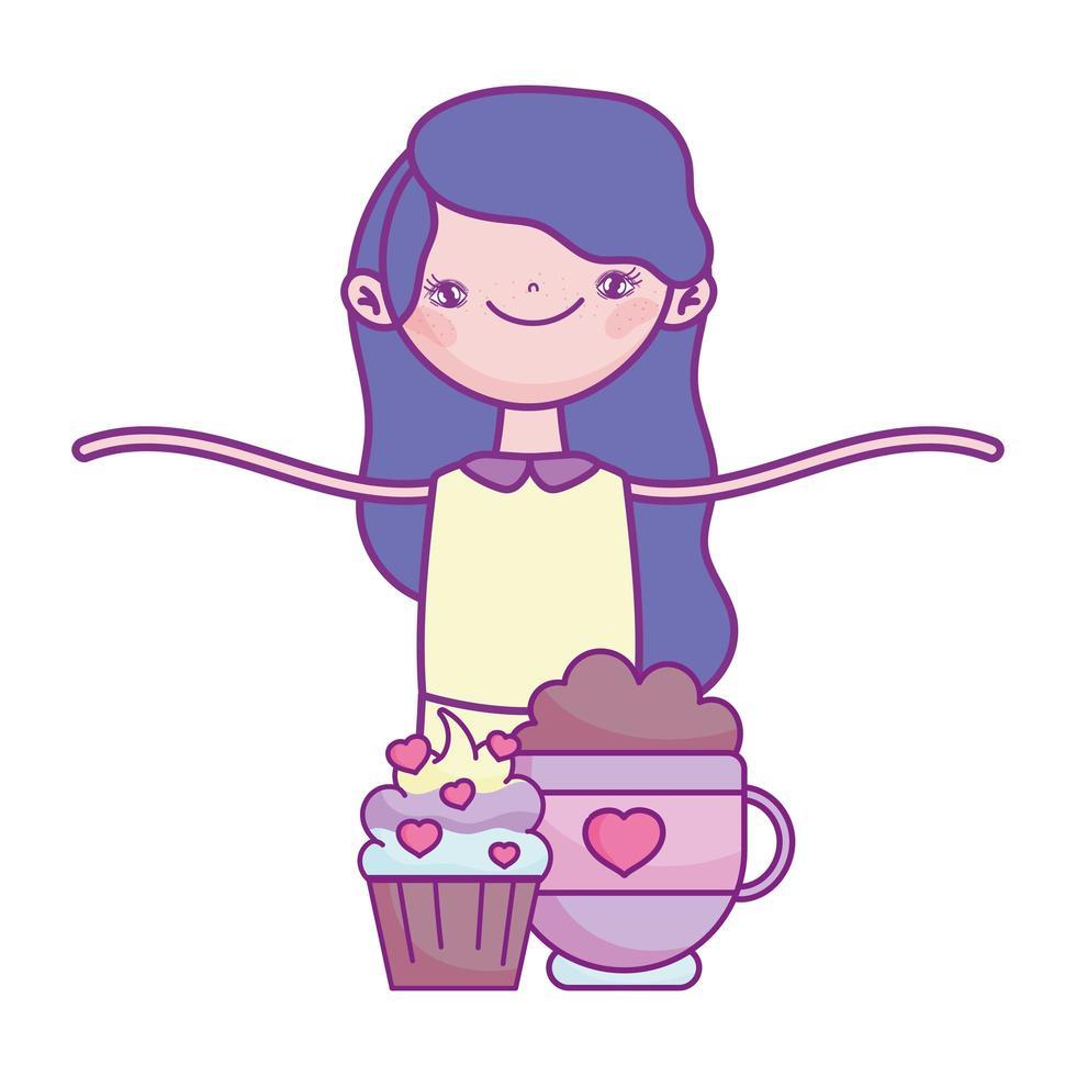 gelukkige Valentijnsdag, schattig meisje met cupcake en chocolade cup harten liefde vector
