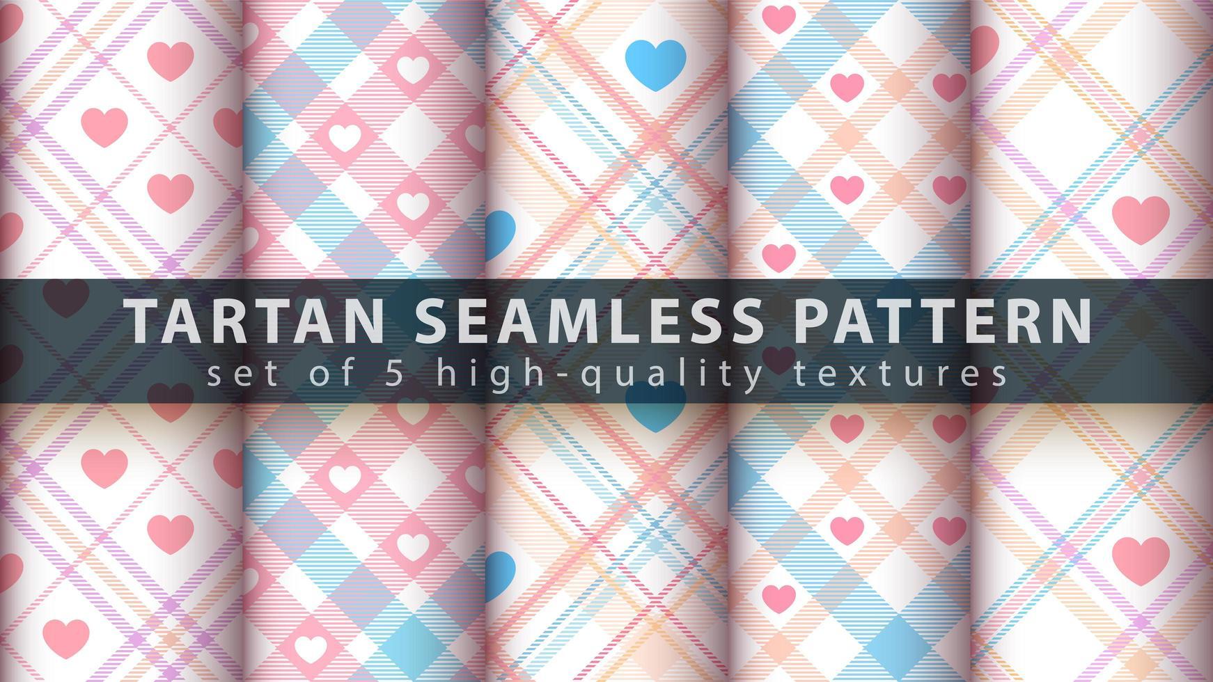 set van tartan naadloze patroon achtergrond instellen met hart vormen vector