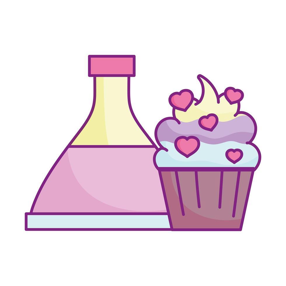 gelukkige Valentijnsdag, toverdrankfles cupcake met hartenliefde vector